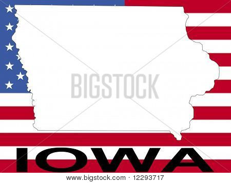 map of Iowa on American flag illustration JPG