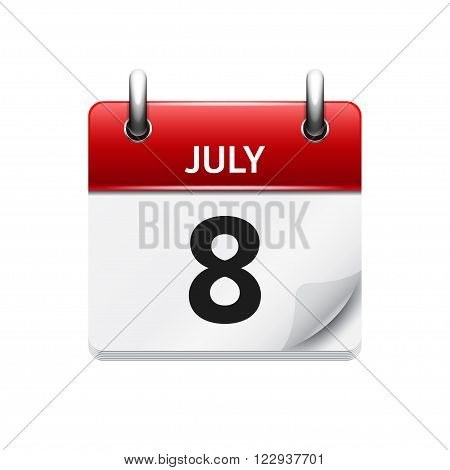 July 8 . Vector calendar icon. Date, day, month.