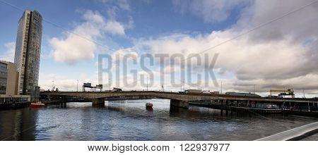 Bridge of motorway on river Lagan in Belfast
