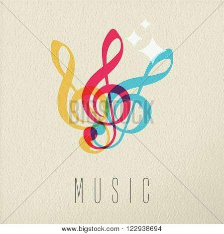Music concept treble g clef musical note icon in color style over texture background. EPS10 vector.