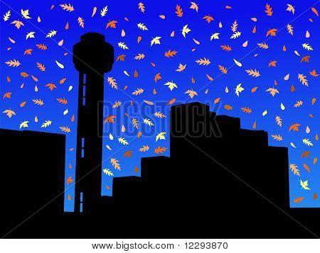 Horizonte de Dallas no Outono com queda deixa JPG