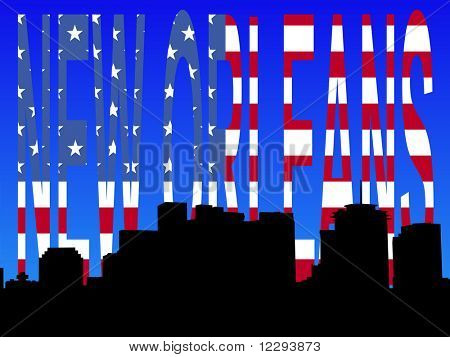 Downtown New Orleans skyline with American flag text JPG