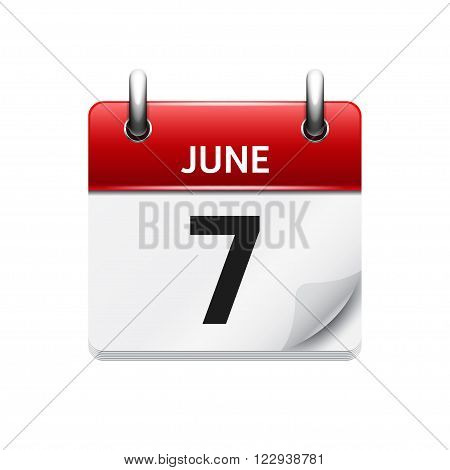 June  7. Vector flat daily calendar icon. Date and time, day, month. Holiday.
