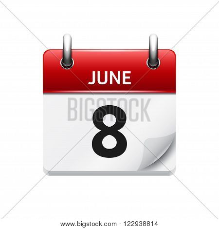 June 8 . Vector flat daily calendar icon. Date and time, day, month. Holiday.