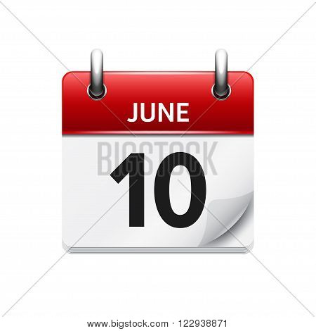 June  10. Vector flat daily calendar icon. Date and time, day, month. Holiday.