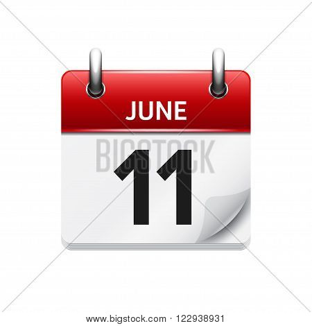 June 11 . Vector flat daily calendar icon. Date and time, day, month. Holiday.