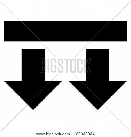 Bring Down vector icon. Style is flat icon symbol, black color, white background.