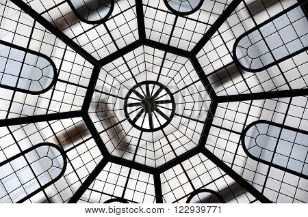 Detail of a glass cupola inside a dome