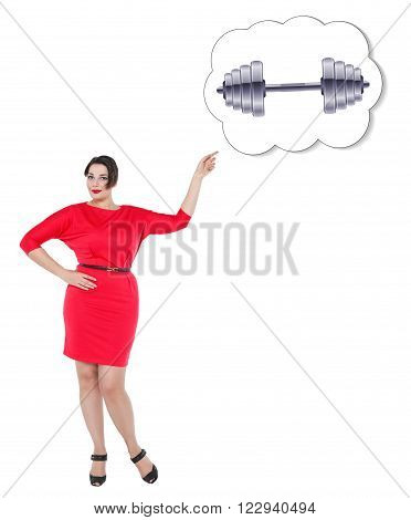 Plus Size Woman Showing On Banner With Dumbbell