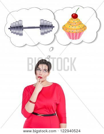 Plus Size Woman Making Choice Between Sport And Unhealthy Food