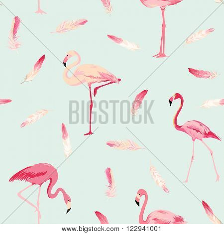 Flamingo Bird Background. Flamingo Feather Background. Retro Seamless Pattern. Vector Texture.