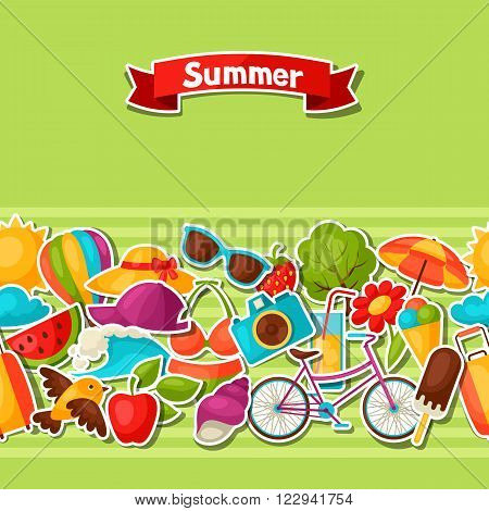 Seamless pattern with summer stickers. Background made without clipping mask. Easy to use for backdrop, textile, wrapping paper.