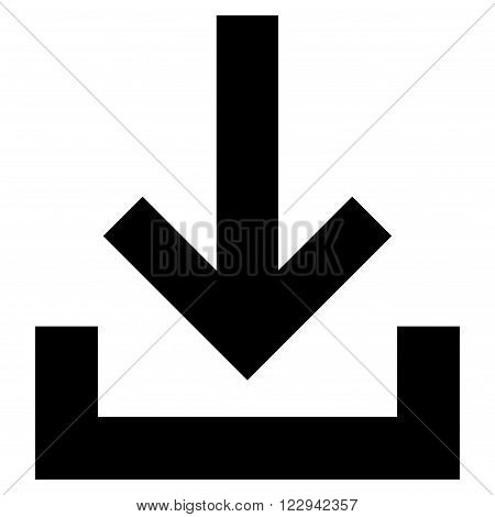 Inbox vector icon. Style is flat icon symbol, black color, white background.