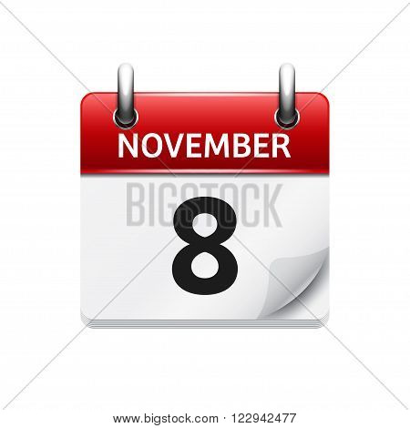 November  8. Vector flat daily calendar icon. Date and time, day, month. Holiday.