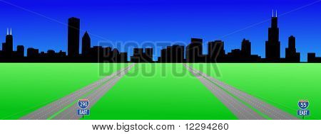 Chicago Skyline and interstates 55 and 290 illustration JPG