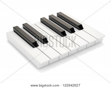Black and white piano keys. One octave. 3D render illustration isolated on white background