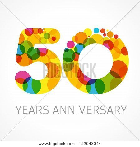 Template logo 50th anniversary with a circle in the form of a color bubble. 50 years anniversary circle colored logo