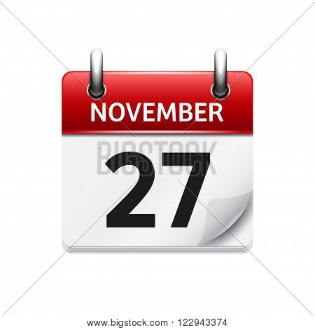 November  27. Vector flat daily calendar icon. Date and time, day, month. Holiday.
