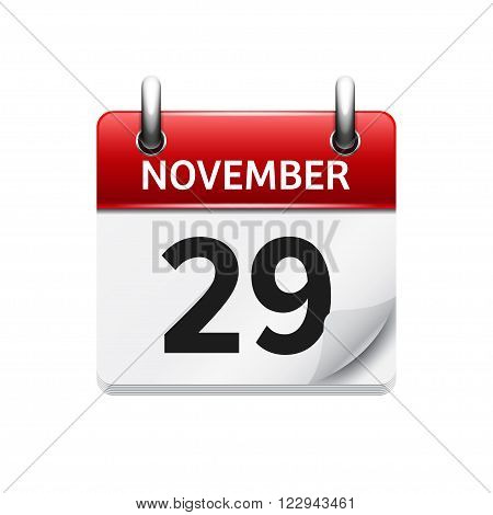 November 29 . Vector flat daily calendar icon. Date and time, day, month. Holiday.