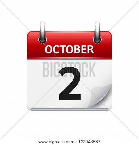 October 2 . Vector flat daily calendar icon. Date and time, day, month. Holiday.