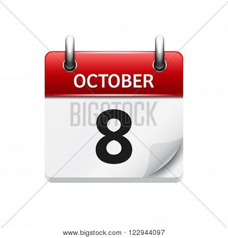 October  8. Vector flat daily calendar icon. Date and time, day, month. Holiday.
