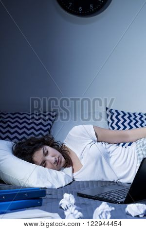 Shot of a young woman sleeping in her bedroom