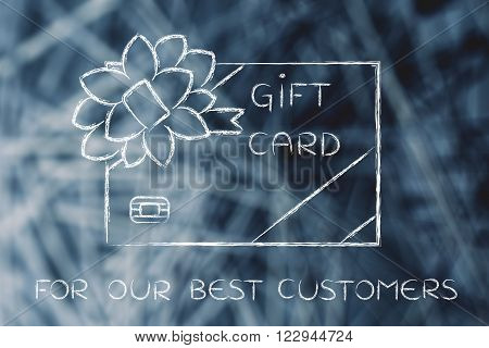 illustration of a gift card  with wrapping bow