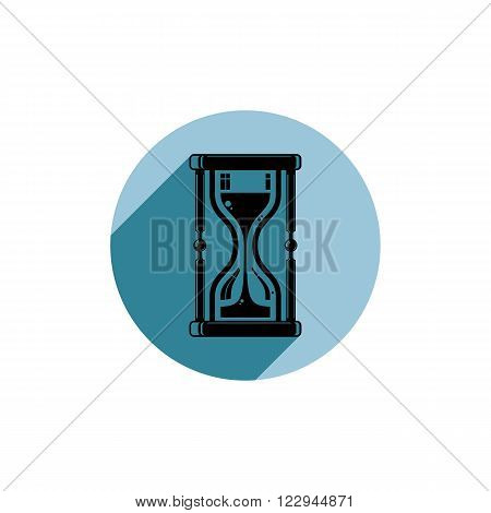 Classic sand-glass illustration antique hourglass. Time conceptual icon for use in advertising and as corporate element.