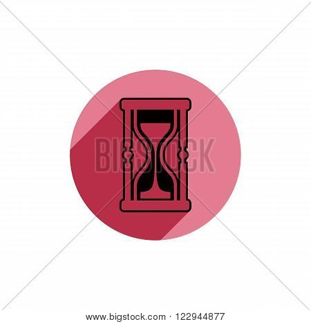 Classic sand-glass illustration antique hourglass. Time conceptual icon for use in advertising and as corporate brand element.
