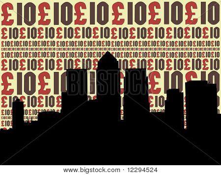 London Docklands Skyline with ten pounds currency illustration JPG