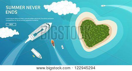 Vector illustration. Tropical island. Summer holidays, vacation. Sun, ocean, sea. Travel. Blue lagoon. Oasis, seascape.