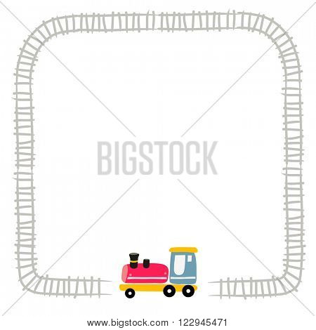 Toy train, locomotive, on railway. Vector illustration for kids with space for text insertion. Border.