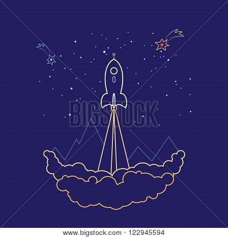 Space Rocket Flies into Space, Spaceship on a Background of the Starry Sky and Mountains, Launch Spacecraft, Line Style Design ,Logo Design Element , Vector Illustration