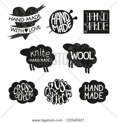 Set of different styles hand made logotypes design elements and labels. Hand made made with love cross-stitch Vector illustration