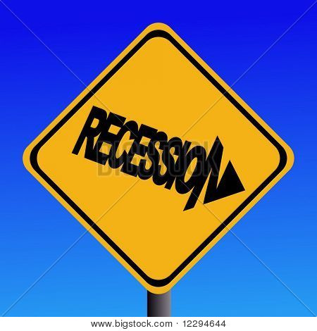 Recession warning sign on blue sky illustration