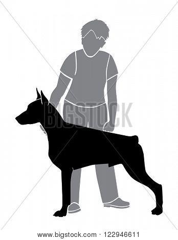 Handler and Doberman, man and dog