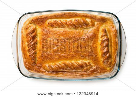 Homemade pie on glass pot isolated on white background