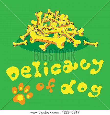 Illustration delicacy for dog of bones yellow green