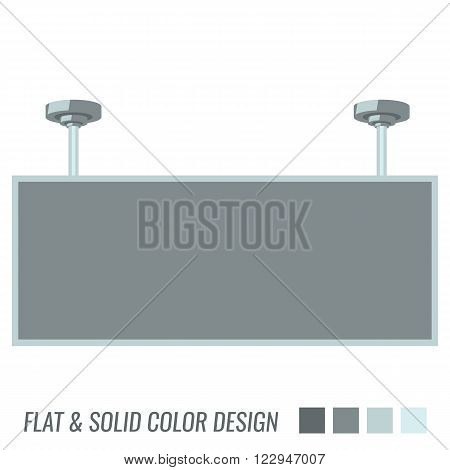 Blank billboard hanging down from the ceiling flat color and isolated on white background.
