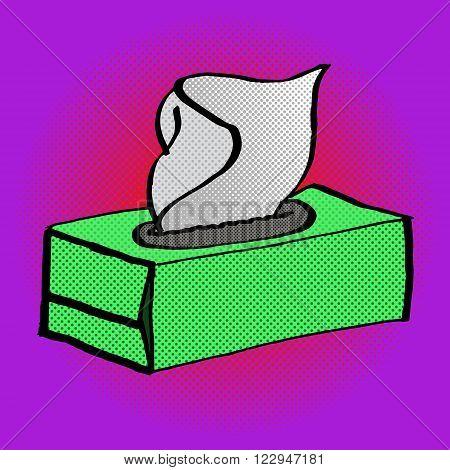 Paper white napkin box pop art vector illustration