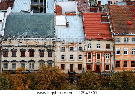 Lviv at autumn, Ukraine, view from city hall