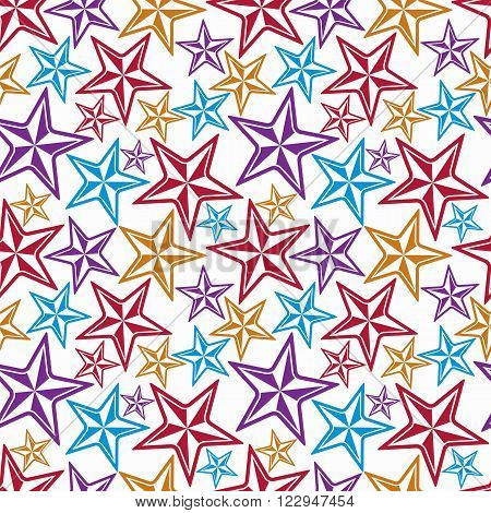 Celebration idea vector background beautiful stars. Seamless background with festive stars for use in decorating graphic design