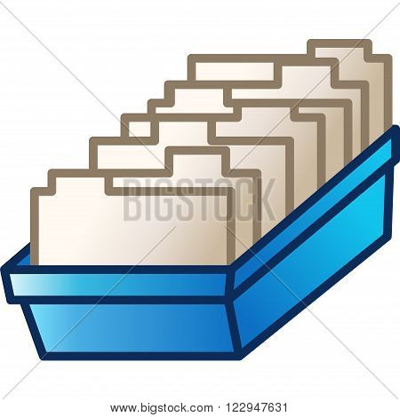 Card File vector toolbar icon. Archive catalog with paper cards.
