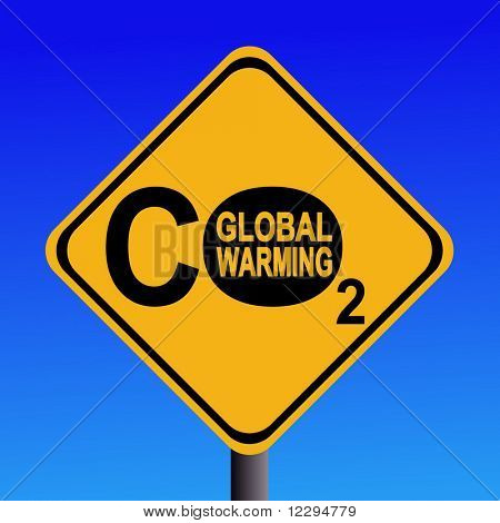 warning Global warming CO2 emissions sign illustration