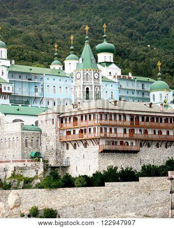 Saint Panteleymon's monastery on Mount Athos in Greece. View from the sea