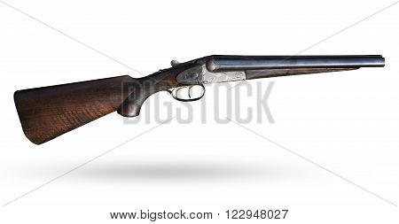 Old rifle on white background. Isolated short gun with wooden butt. Lovely historical isolated shotgun. Scattergun with bead for hunt and sport shooting. Graphic component, element partition.