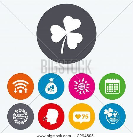 Wifi, like counter and calendar icons. Saint Patrick day icons. Money bag with clover sign. Wreath of trefoil shamrock clovers. Symbol of good luck. Human talk, go to web.