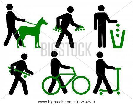 Park Regeln tragen, Inlineskates und Skateboards, Fuß, Fahrräder und Roller, kein Müll, alle Hunde auf Blei