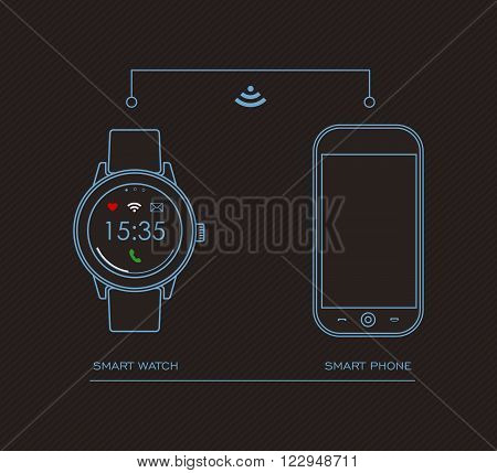 Smart Watch And Mobile Phone Concept Design