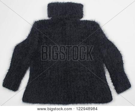 optional black angora sweater on white background